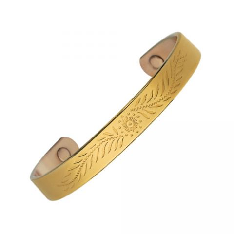 125a11d58ba Gold Plated Copper Magnetic Bracelet with Floral Pattern